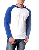 Leana Men's Hooded Cotton T-Shirt (SR45_Rblu White_XL)