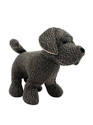 Large Tweed Standing Dog Door Stopper, Grey