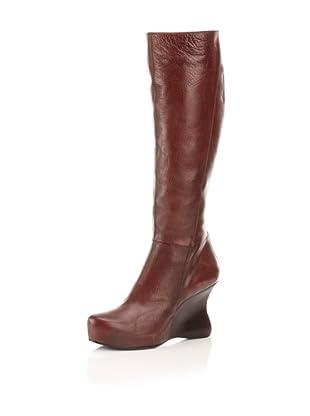 CoSTUME NATIONAL Women's Knee-High Wedge Boot (Burnt Brown)