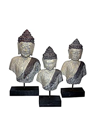 Asian Loft Set of 3 Hand-Carved Wooden Buddha Bust Statues, Multi