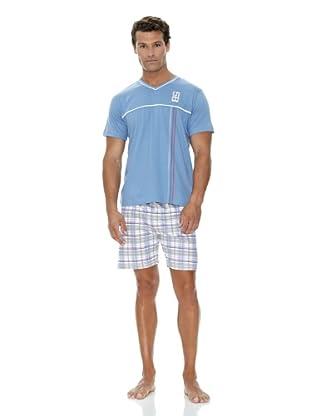 Basket Pijama Cuello Pico Bordado (Azul)