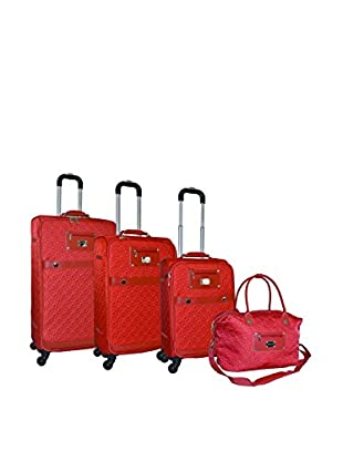 Adrienne Vittadini Quilted Nylon 4-Pc Luggage Set, Burnt Orange