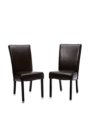 Armen Living Set of 2 Leather Side Chairs (Brown)