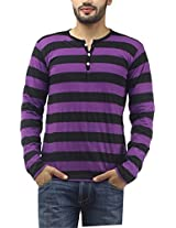 Leana Men's Button Front T-Shirt (SR18_Purple Black_XL)