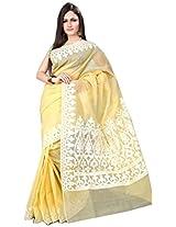 Asavari Yellowish Cream Cotton Manipuri Chek Banarasi Saree