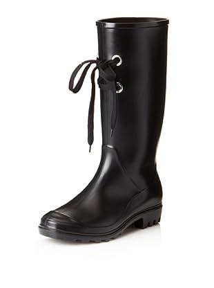däv Women's Lug with Laces Rain Boot (Black)