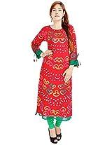 Shop Avenue Women's Cotton Regular Fit Kurti (WGS07094, Red, X-Large)