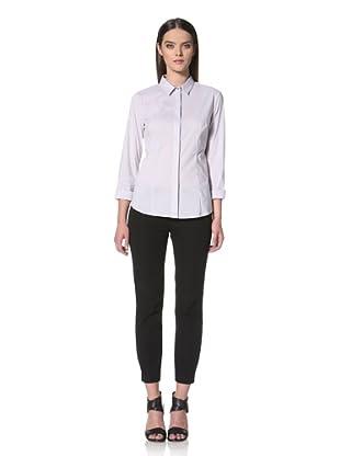 JIL SANDER NAVY Women's Fine Stripe Button Front Shirt (Grey)