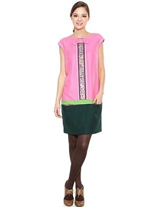 Poupé Chic Vestido Tricolor (Rosa / Verde)