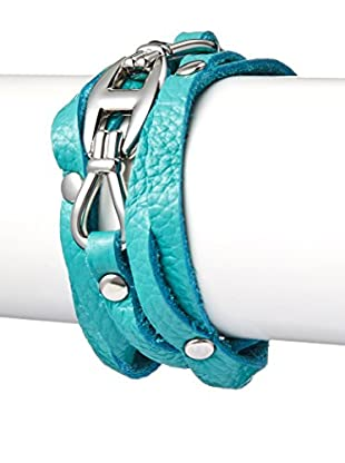 Chloe by Liv Oliver Criss Cross Turquoise Leather Wrap Bracelet In Silver
