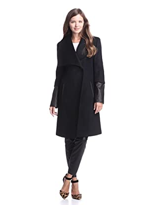Elie Tahari Women's Carlotta Wool Coat with Leather Trim (Black)
