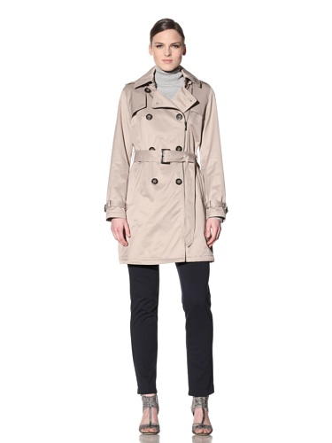 Laundry by Shelli Segal Women's Double-Breasted Zip Trench (Mocha)