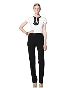 Bill Blass Women's Straight Leg Tuxedo Pant with Waist Hardware (Black)