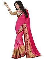 Manvaa pink and beige saree -FNST1509