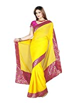 De Marca Yellow Chiffon M229 Saree