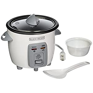 BLACK+DECKER RC3303 1.5-Cup Dry/3-Cup Cooked Compact Rice Cooker, White