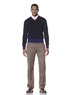 Cruciani Men's V-Neck Sweater (Navy Blue/Electric Blue)