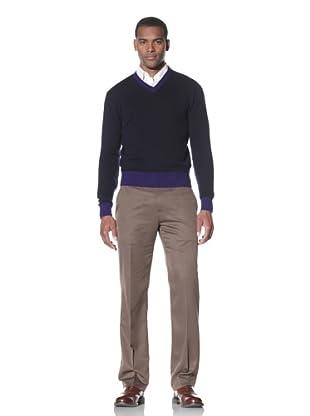 Cruciani Men's V-Neck Sweater (Navy Blue/Electric Blue)