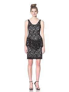 Betsey Johnson Women's Lace Peplum Dress (Black)