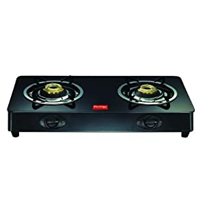Prestige Royale GT 02 Glass Top Gas Stove, Black