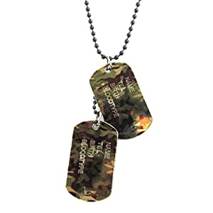 The jewelbox military dog tag pendants men with black chain stainless steel 23.5""