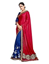 Brijraj Blue Magenta Poly Georgette Resham Embroidered Beautiful Saree With Unstitch Blouse