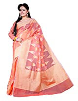 Asavari Peach Supernet Pure Cotton Jute work Saree