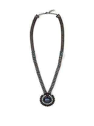 LK Designs Long Stones Necklace, Black and Blue