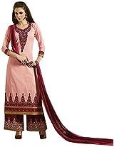 Kessi Fabrics Women's Cotton Unstitched Salwar Suit (Pink)