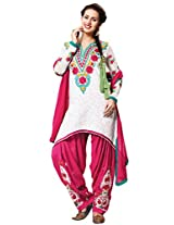 Off White Foux Cotton Semi Party Wear Thread Embroidery Patiala Suit 6001