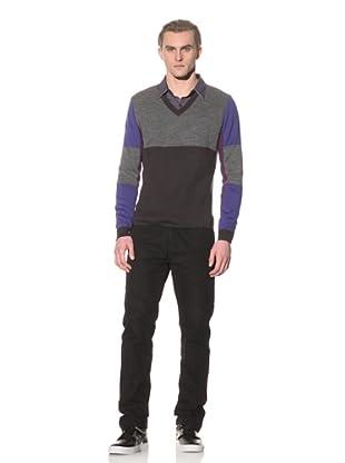 Number:Lab Men's Color Block V-Sweater (Steel/Purple)