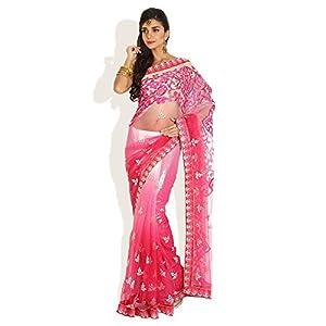 Gradient Graceful Net Saree -Pink-FS