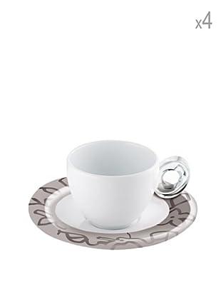 Guzzini Set 4 Tazzine Caffè con Piattino Mirage Grigio