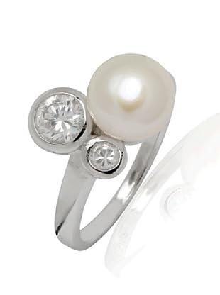 Nova Pearls Copenhagen Ring Silber Süßwasser-Zuchtperlen und Zirkonia