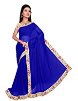 ISHIN Chiffon Blue Solid Lace Saree With Printed Blouse