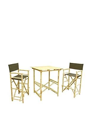 ZEW, Inc. High Table & Director Chair Set, Black