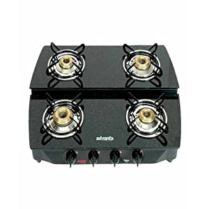Advanta Premium Black Diamond Sparkle Stepper 4 Burner Gas stove with Automatic Ignition.