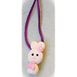 Saakar Polymer Clay Bunny Purple Necklace