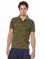 Do U Speak Green? Printed Polo Neck Half Sleeves T-Shirt - Olive