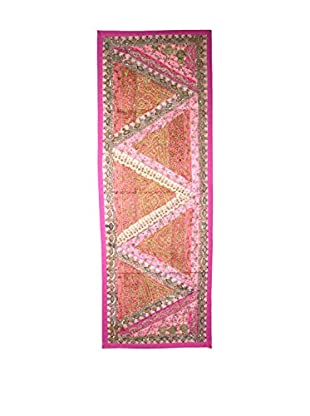 Uptown Down One-of-a-Kind Floor Runner of Vintage Tribal Collars, Pink/Orange