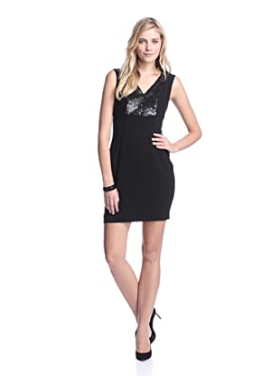 Marc New York Women's V-Neck Dress with Paillettes (Black)