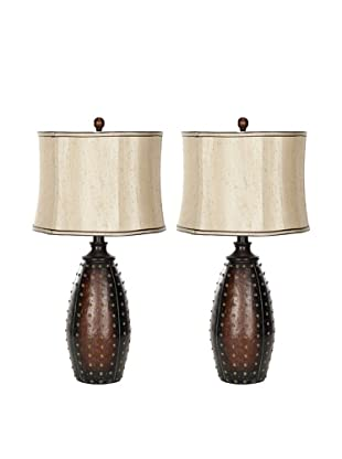 Safavieh Santa Fe Faux Leather Lamp, Set Of 2, Black/Beige