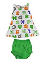 Ssmitn Baby Wear Alphabet Printed Green Frock With Bloomer For Girls
