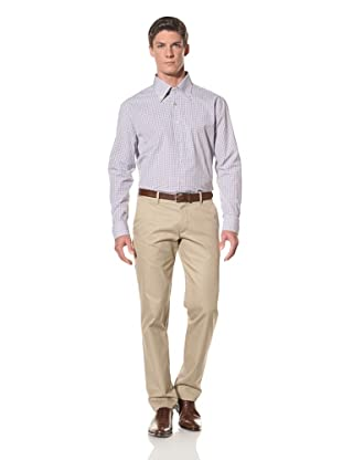 De Corato Men's Button-Up Dress Shirt (Brown Check)