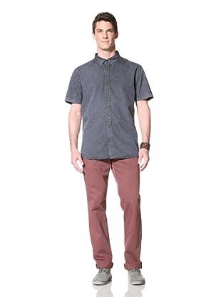 Zanerobe Men's Shoalwater Short Sleeve Woven Shirt (Blue-Black)