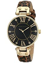 Anne Klein Women's 10/9918BKLE Glitter Accented Leopard Printed Leather Strap Watch