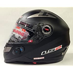 LS2 FF310 Full Face Helmet with Bluetooth (Matte Black, L)