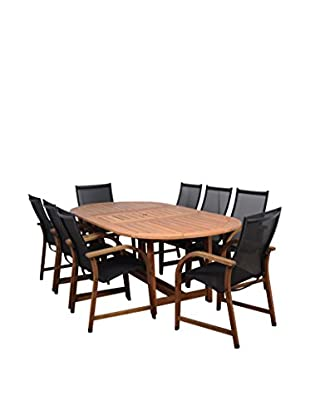Amazonia Bahamas 9-Piece Eucalyptus Extendable Oval Patio Dining Set, Brown