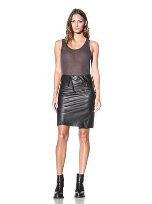 Ann Demeulemeester Women's Leather Button-Panel Skirt (Black)