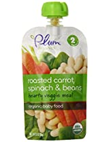 Plum Organics Second Blends Hearty Veggie Meal, Roasted Carrot Spinach and Bean, 3.5 Ounce (Pack of 12)